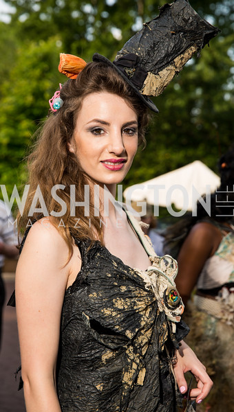 """Trashion"" model Nerea Fuentes. Photo by Erin Schaff. 2016. Washed Ashore: Art to Save the Sea VIP Reception. Smithsonian National Zoo Elephant Community Center. May 26, 2016."