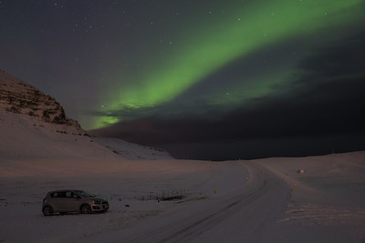 My trusty front wheel drive Chevy Spark with the Northern Lights