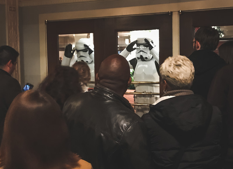 Stormtroopers from Star Wars check on patrons as John Williams conducts the Indianapolis Symphony Orchestra on February 12, 2018.