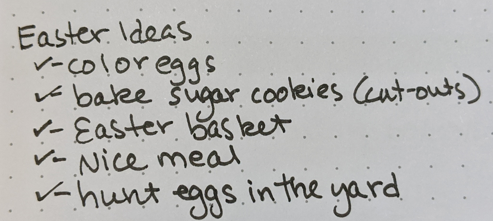 Easter Ideas (Goals) in my goal journal