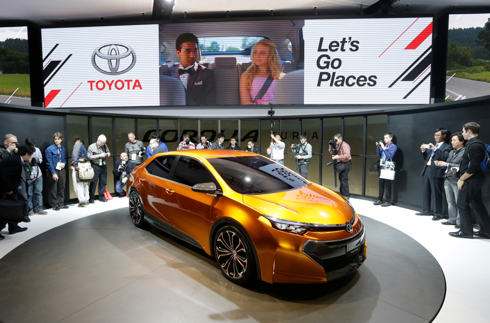 . Toyota unveils its Corolla Furia Concept car during the North American International Auto Show in Detroit, Monday, Jan. 14, 2013. (AP Photo/Carlos Osorio)