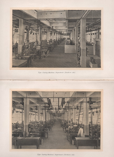 Views of the Nebiolo casting machine room. 1920s.