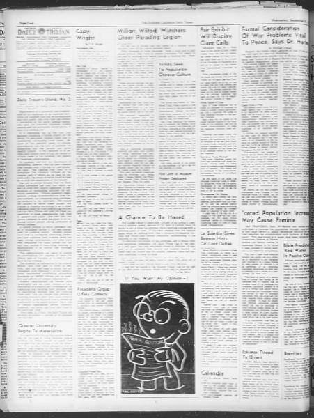 Daily Trojan, Vol. 30, No. 3, September 21, 1938