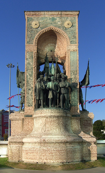 58-Cumhuriyet Anıtı (Monument of Republic) 1928, in Taksim Square at the beginning of İstiklâl Avenue. This side shows founders of the Turkish Republic; the other side (not shown) reflects bravery in the Turkish war of Independence (1919-1922). The monument was also constructed to challenge taboos from Ottoman times that restricted depiction of the human form.