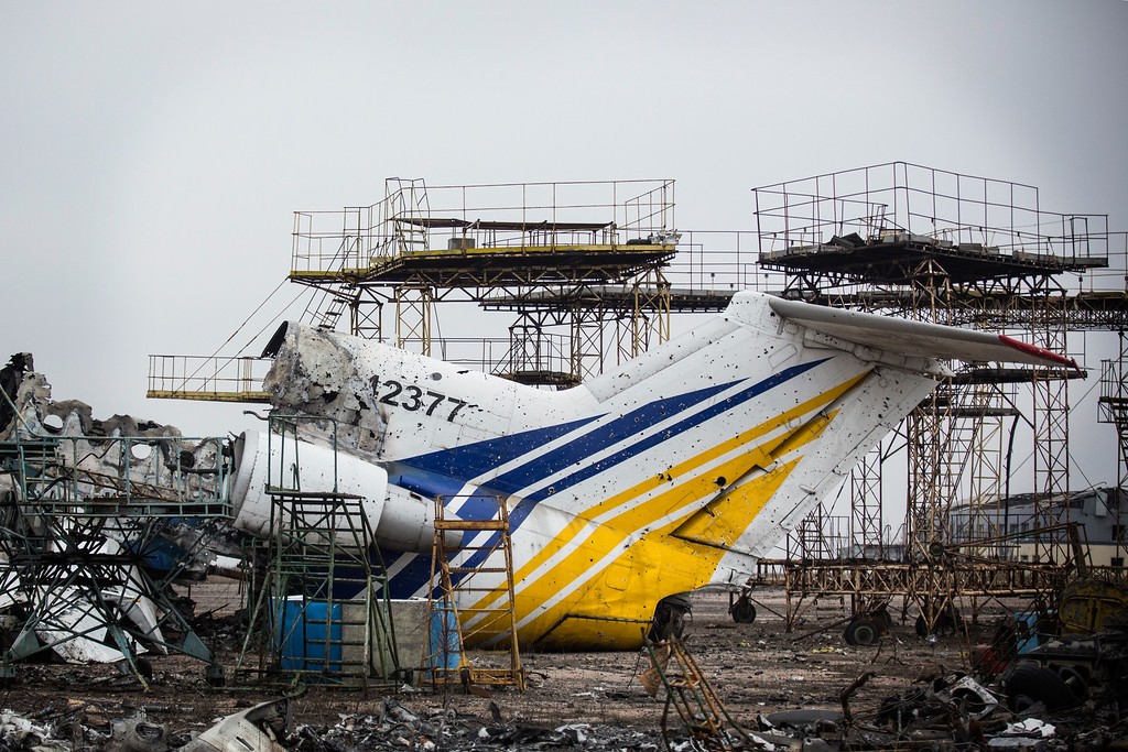 . DONETSK, UKRAINE - FEBRUARY 26:  Destroyed commercial airplanes sit scattered at the Donetsk airport on February 26, 2015 in Donetsk, Ukraine. The Donetsk airport has been one of the most heavily fought over pieces of land between the Ukrainian army and pro-Russian rebels.  (Photo by Andrew Burton/Getty Images)