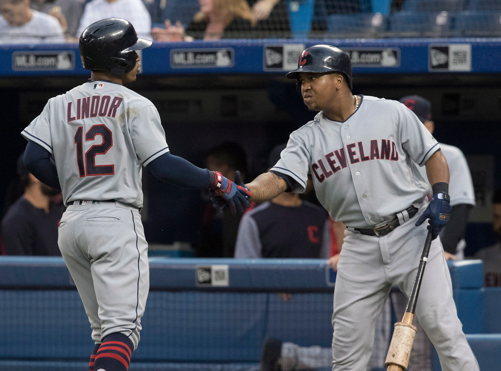 . Cleveland Indians\' Francisco Lindor celebrates with Jose Ramirez after he hit a leadoff home run against the Toronto Blue Jays during the first inning of a baseball game Thursday, Sept. 6, 2018, in Toronto. (Fred Thornhill/The Canadian Press via AP)