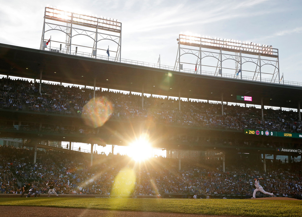 . Chicago Cubs\' Jon Lester, right, pitches to a Cleveland Indians batter during the second inning of a baseball game Wednesday, May 23, 2018, in Chicago. (AP Photo/Jim Young)