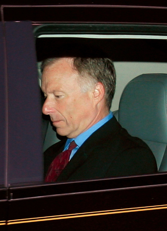 """. WASHINGTON - OCTOBER 05:  I. Lewis \""""Scooter\"""" Libby , Chief of Staff for U.S. Vice President Dick Cheney, leaves his home in McLean, VA October 5, 2005. Libby is at the center of a federal grand jury inquiry into a government leak of the identity of former undercover CIA Officer Valerie Plame.   (Photo by Win McNamee/Getty Images)"""