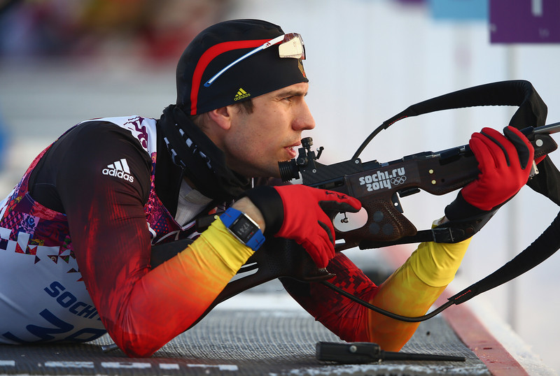 . Arnd Pfeiffer of Germany practices ahead of the Men\'s Sprint 10 km during day one of the Sochi 2014 Winter Olympics at Laura Cross-country Ski & Biathlon Center on February 8, 2014 in Sochi, Russia.  (Photo by Clive Mason/Getty Images)