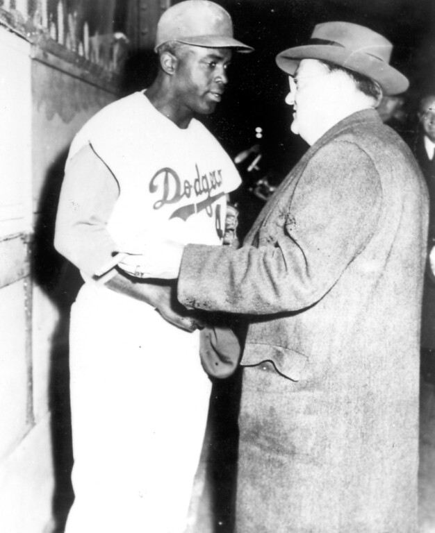 . Jackie Robinson with Dodgers\' owner Walter O\'Malley.  (Los Angeles Daily News file photo)
