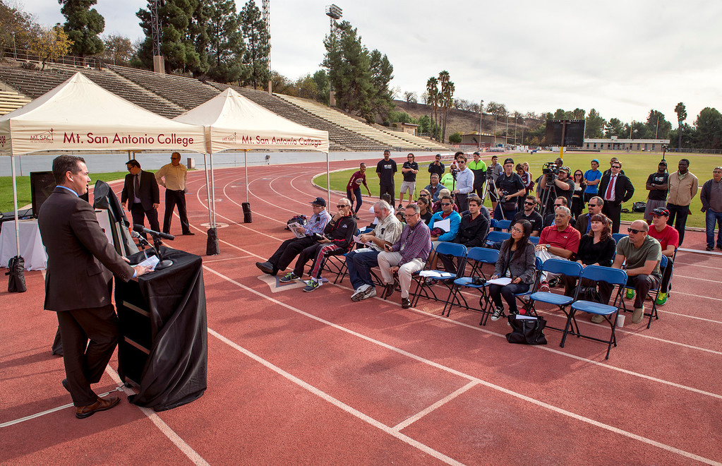 . Division dean/athletics director Joe Jennum speaks during a press conference announcing the renovation of Mt. SAC\'s Hilmer Lodge Stadium at the Walnut campus Dec. 2, 2013.  The renovation would qualify the stadium to apply for consideration as the track and field venue of the 2020 Olympics.  (Staff photo by Leo Jarzomb/San Gabriel Valley Tribune)