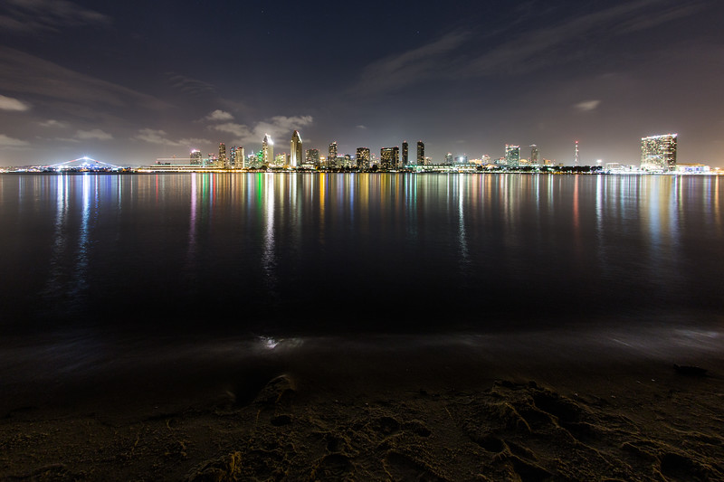 Downtown San Diego city skyline at night