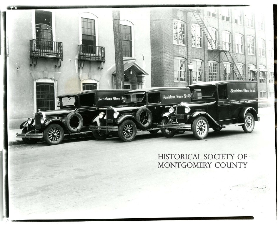 . This undated photograph from the Historical Society of Montgomery County shows what The Times Herald\'s delivery trucks used to look like.