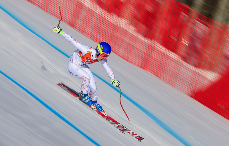 . US skier Laurenne Ross competes during the Women\'s Alpine Skiing Super-G at the Rosa Khutor Alpine Center during the Sochi Winter Olympics on February 15, 2014.   (ALEXANDER KLEIN/AFP/Getty Images)