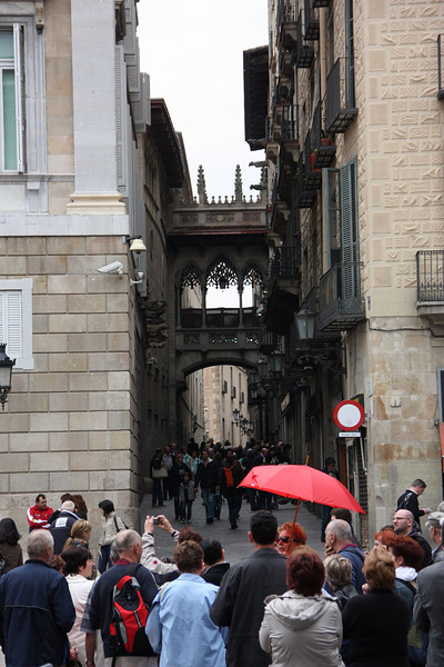 A little street in the old section of Barcelona.