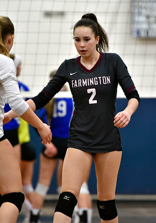 11/8/2018 Mike Orazzi | Staff Farmington High School's Katherine Siuta (2) during the Class L Second Round State Girls Volleyball Tournament in Bristol Thursday night.