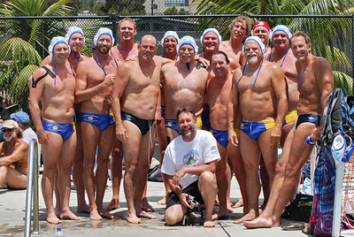 Masters Nationals 2010, San Diego, California -  Men's 50+ Gold Medal Game - Santa Barbara Masters Water Polo vs Tri Valley Gold 6/13/10. Final score 7 to 5 in Overtime Shoot Out. Photos by Allen Lorentzen.