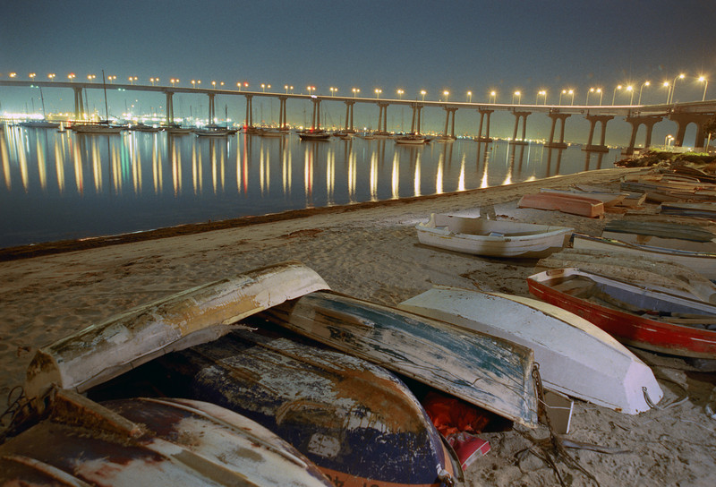 Glorieta Bay at the foot of the Coronado Bridge. This time exposure was shot at about midnight.