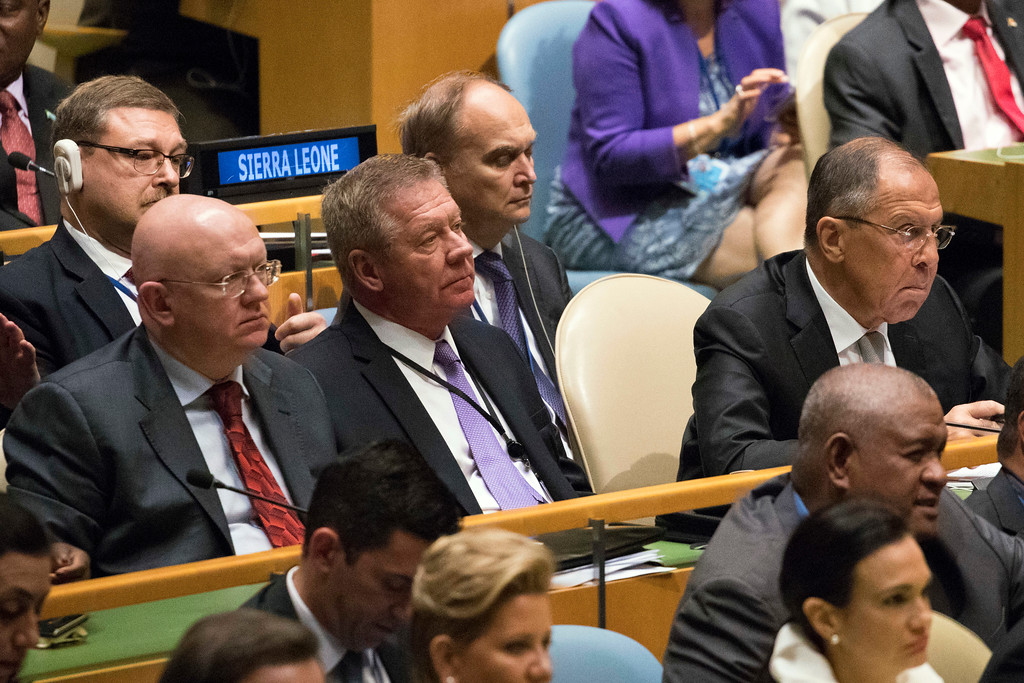 . Russian Foreign Minister Sergey Lavrov, right, and Russia Ambassador to the United Nations Vassily Nebenzia, right, listen as U.S. President Donald Trump speaks during the 72nd session of the United Nations General Assembly at U.N. headquarters, Tuesday, Sept. 19, 2017. (AP Photo/Mary Altaffer)