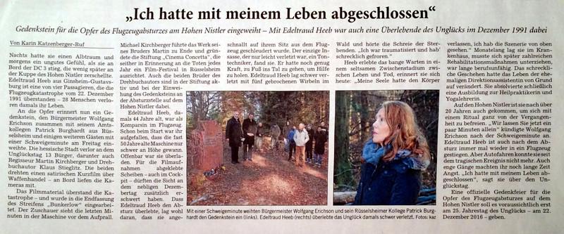 Zeitungsartikel Gedenkstein Absturz hoher Nistler 2013