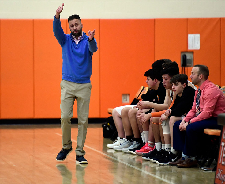 2/15/2019 Mike Orazzi | Staff Terryville High School's Mark Fowler during Friday night's boys basketball game with Housatonic Regional in Plymouth.
