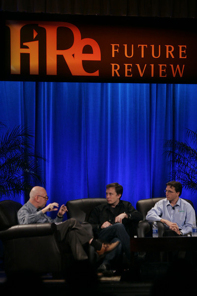 """""""Earth on FiRe: Rapid Response to Climate Crisis"""": (L-R) Moderator Steve Evans, BBC World Service; Elon Musk, CEO and CTO, SpaceX; and Lyndon Rive, CEO, SolarCity"""