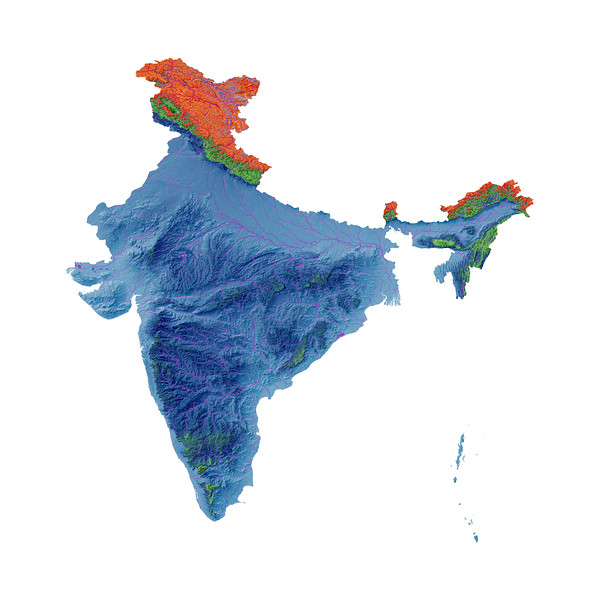 Elevation map of India