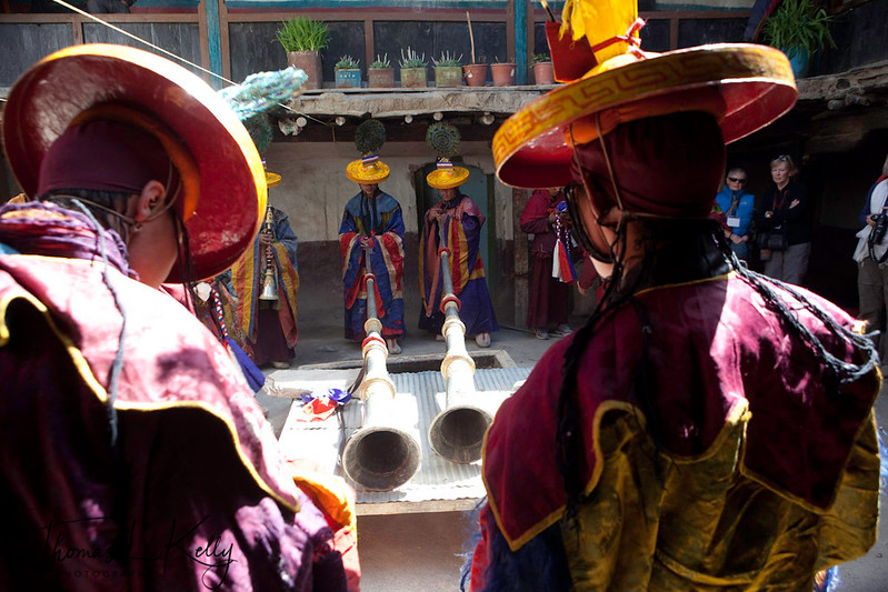 On the first day of Tiji Festival, morning begins with the assembly of monks and offering so Vajrakila prayers in Chodey Goempa. Lo Manthang, Mustang, Nepal.