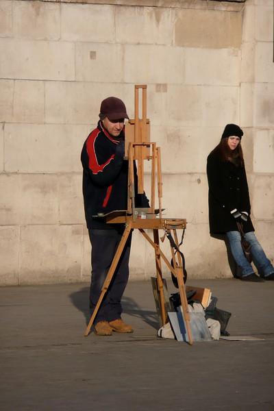 Street Artist. Trafalgar Square, London