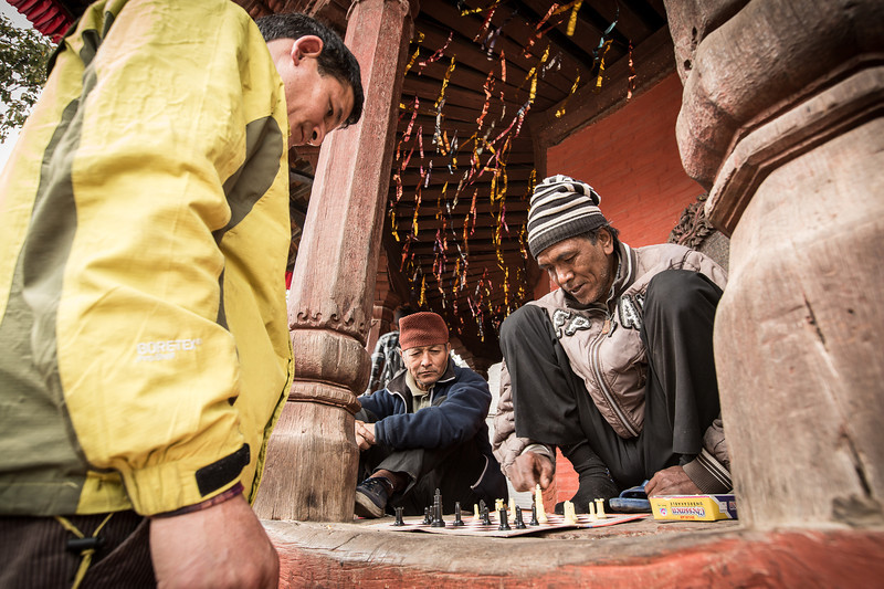 Playing chess in Durbar Square - Kathmandu