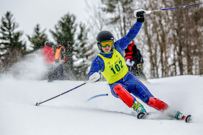 Freshman Ryland VanDecker battles the course in the KVAC slalom championships at Titcomb Mountain on Saturday.