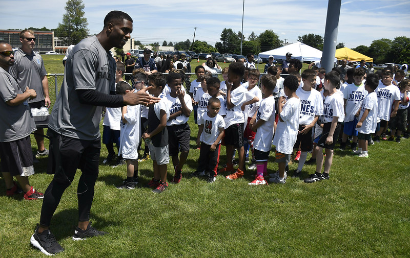 6/16/2018 Mike Orazzi   Staff Former St. Paul football player and  New Britain native and current Dallas Cowboy Byron Jones at a New Britain football PAL clinic Saturday.