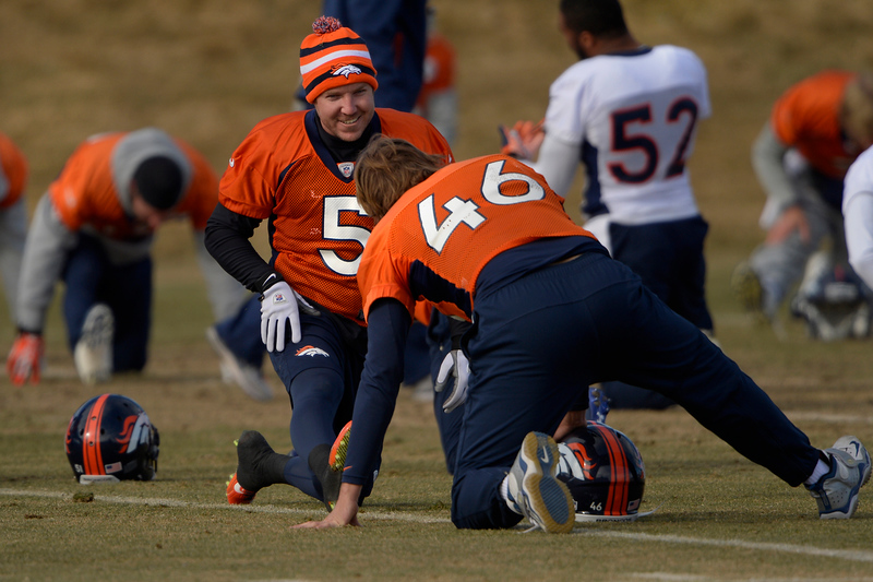 . Kicker Matt Prater #5 of the Denver Broncos and long snapper Aaron Brewer #46 stretching before practice at Dove Valley in Centennial January 10, 2014 Centennial, Colorado. (Photo by Joe Amon/The Denver Post)