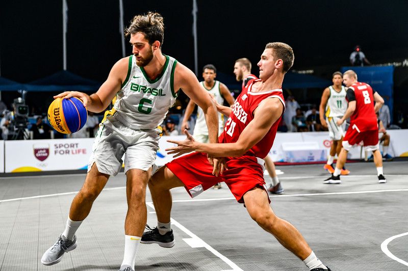 Brasil and Russia in action in the Final of the International 3x3 Basketball Tournament during the 1st ANOC World Beach Games at Katara on October 16, 2019 in Doha, Qatar. Photo by Tom Kirkwood/SportDXB