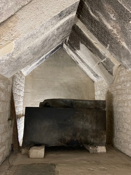 Sarcophagus of Teti inside the Pyramid of Teti (notice the stars etched in the ceiling)
