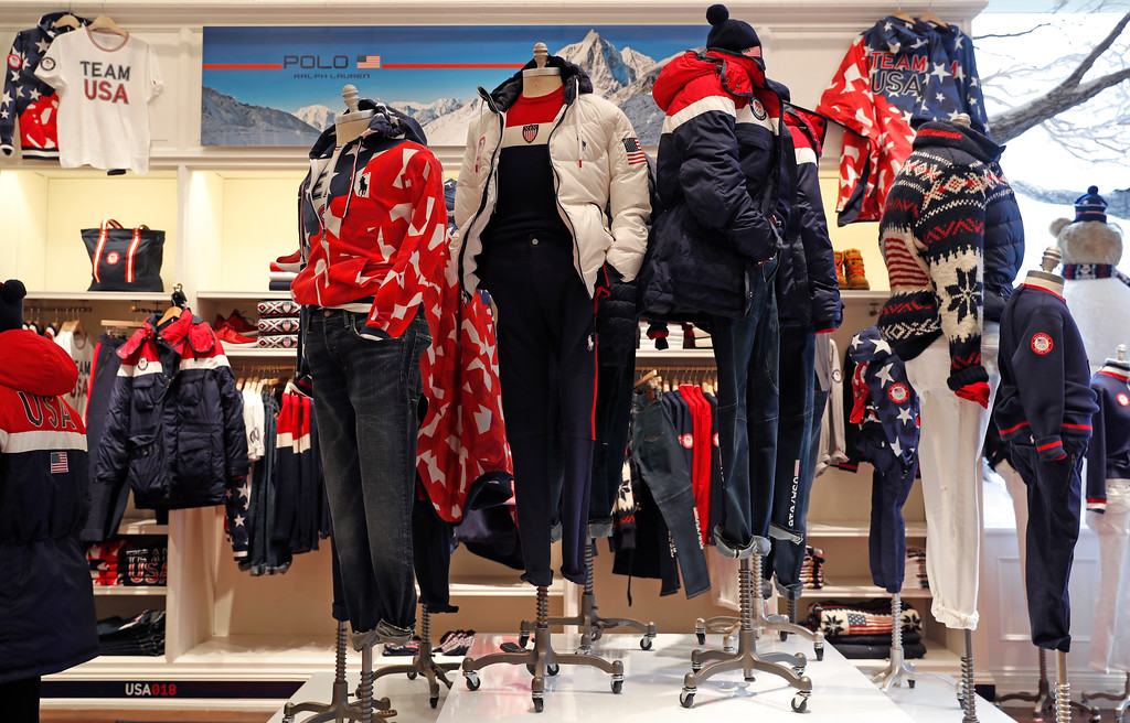 . Clothing by Polo Ralph Lauren to be worn by Team USA athletes in the upcoming Winter Olympics in South Korea is displayed on mannequins in the brands\'s Prince Street store, Monday, Jan. 22, 2018, in New York. (AP Photo/Kathy Willens)