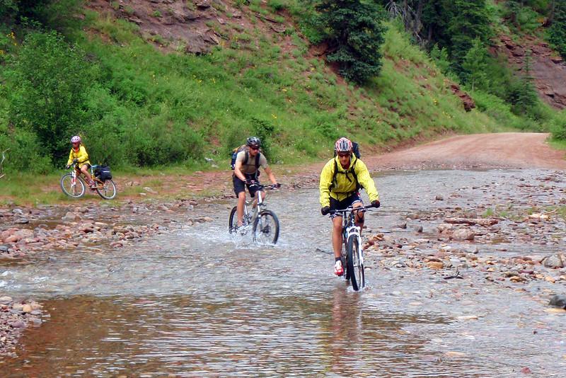 Day 1 Alex, John, & Joni Crossing Upper Hermosa Creek
