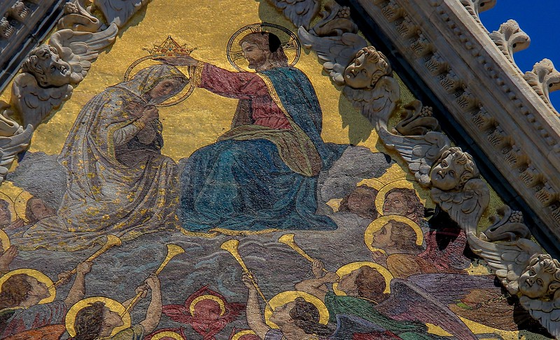 Coronation of the Virgin mosaic, at the top of Siena Cathedral.