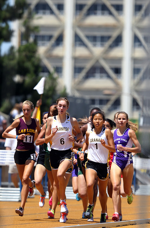 . Athletes compete in the girls 1600 meter final at the North Coast Section Meet of Champions at Cal\'s Edwards Stadium in Berkeley, Calif., on Saturday, May 25, 2013. (Anda Chu/Bay Area News Group)