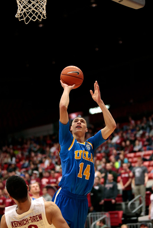 . Zach LaVine The athletic 6-4 shooting guard from UCLA can jump out of the gym and play multiple positions, giving the Nuggets added versatility.    Zach Lavine #14 of the UCLA Bruins puts up a shot over Dexter Kernich-Drew #10 of the Washington State Cougars during the second half of the game at Beasley Coliseum on March 8, 2014 in Pullman, Washington.  (Photo by William Mancebo/Getty Images)