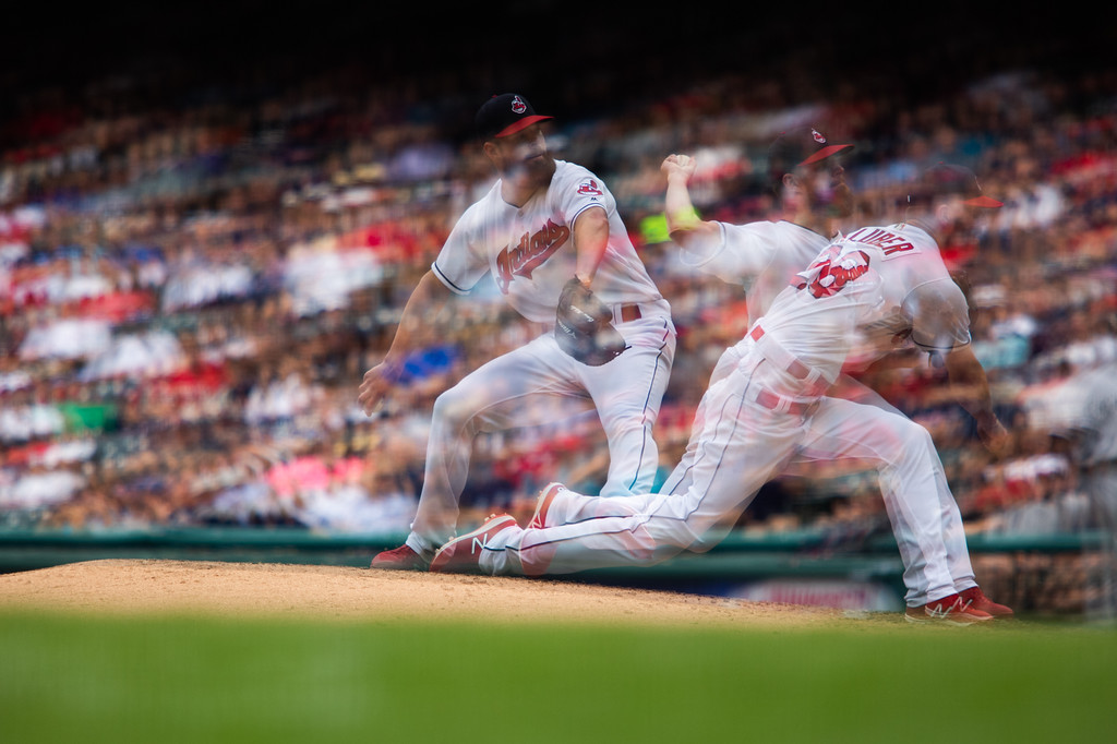 . Korey Kluber of the Cleveland Indians pitches the ball during a regular season game against the Chicago White Sox at Progressive Field on June 20, 2018. The Indians defeated the Sox 12-0.  This photo was made using an in-camera multiple exposure setting. (The Morning Journal/Michael Johnson)