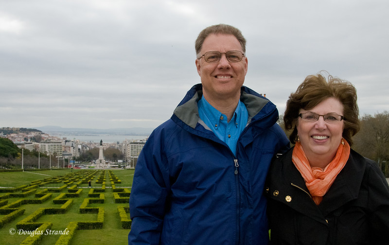 Thur 3/17 in Lisbon: Doug and Louise, with Lisbon in the distance
