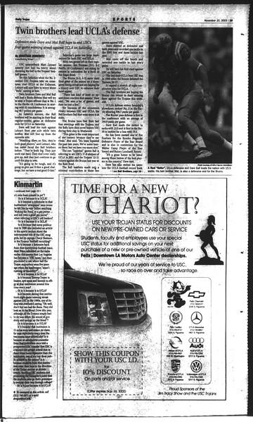 Daily Trojan, Vol. 150, No. 61, November 20, 2003