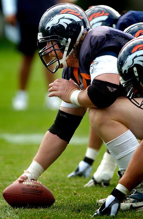 . Denver Broncos center Tom Nalen readies to snap the ball during drills Wednesday, Aug. 3, 2005, at Broncos training camp in Denver. (AP Photo/The Denver Pos, RJ Sangosti)
