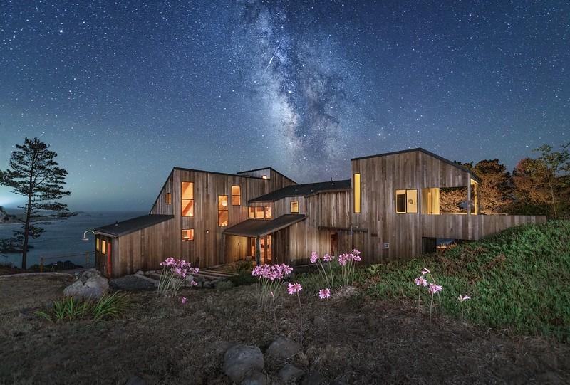 Halprin House with Milky Way & Shooting Star