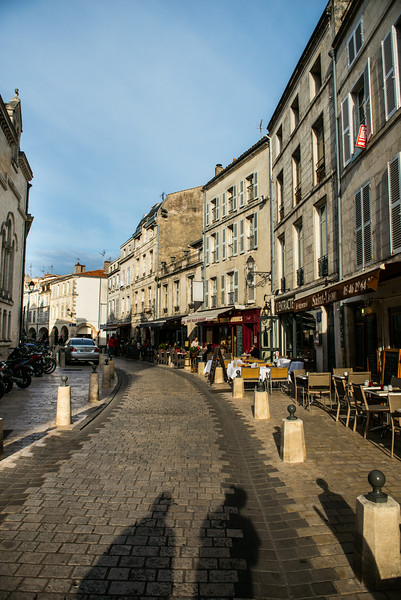Street with Cafes in La Rochelle France