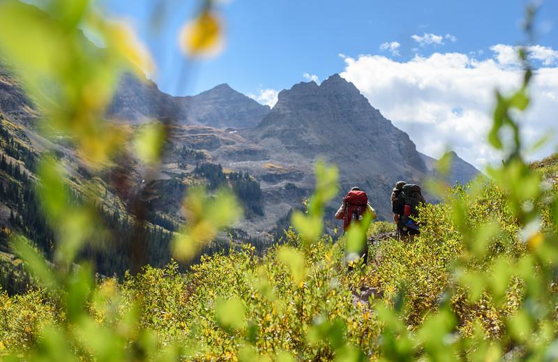 Backpacking through Maroon Bells Wilderness