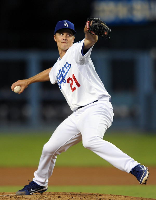 . Dodgers\' starting pitcher Zack Greinke goes against the Giants, Thursiday, September 12, 2013, at Dodger Stadium. (Photo by Michael Owen Baker/L.A. Daily News)