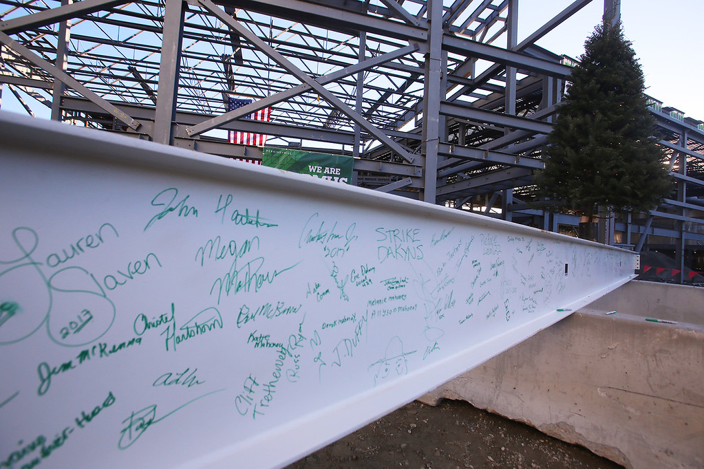 . Autographed beam for topping-off ceremony for the new Billerica Memorial High School.  (SUN/Julia Malakie)