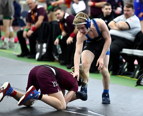 2/29/2020 Mike Orazzi | StaffrBristol Eastern's Mason Lishness and Killingly's Jack Richardson during the CIAC 2020 State Open Wrestling Tournament at the Floyd Little Athletic Center in New Haven.r